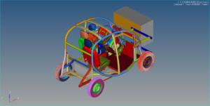 Imagem da simulação por computador de uma colisão entre o veículo e uma superfície. [Fonte: acervo do docente]